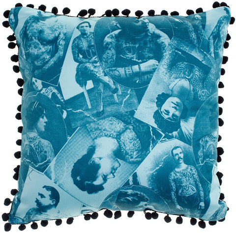 Old Timers Blue Pillow