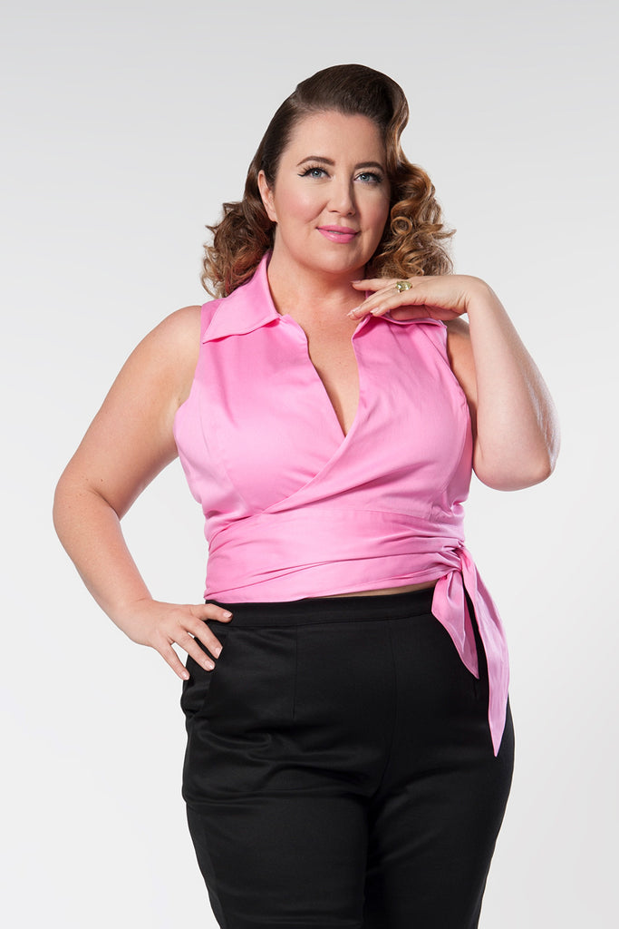 Wonderful Wrap Top in Pink Sateen - Natasha Marie Clothing