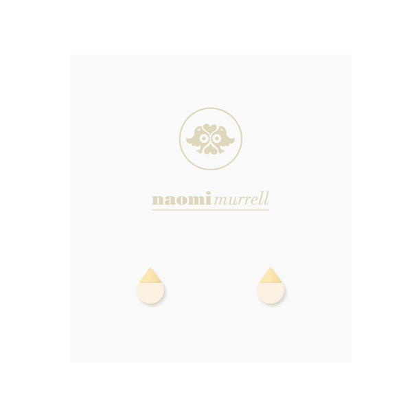 Droplet Studs in Golden Brass and Blush by Naomi Murrell