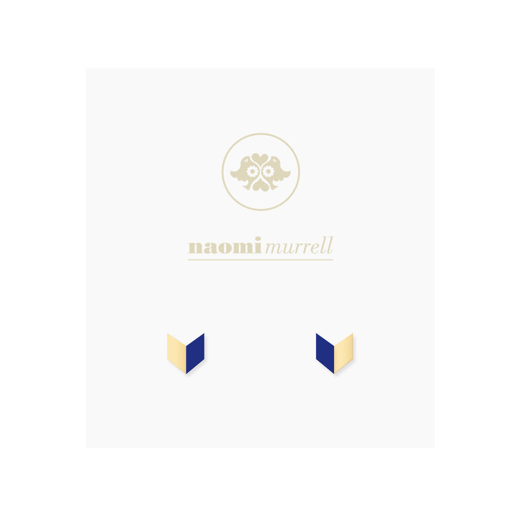 Arrowhead Studs in Golden Brass and Navy by Naomi Murrell