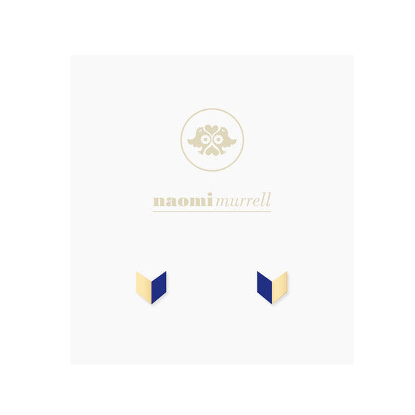 Arrowhead Studs in Golden Brass and Navy Blue by Naomi Murrell