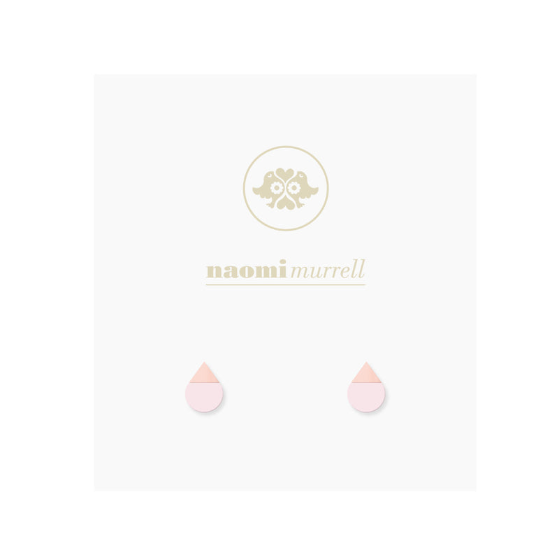 Droplet Studs in Rose Gold and Pink by Naomi Murrell
