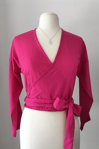 Fortuna Wrap Top in Organic Cotton, Raspberry