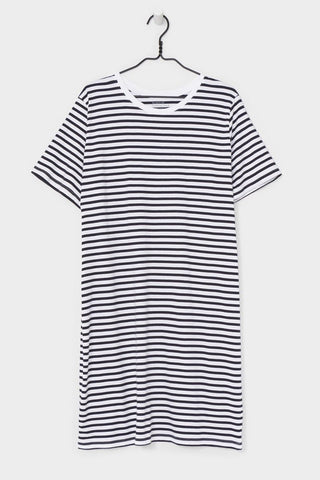 BIG TEE DRESS<br/>BLUE AND WHITE STRIPE<br/>Kowtow<br/>