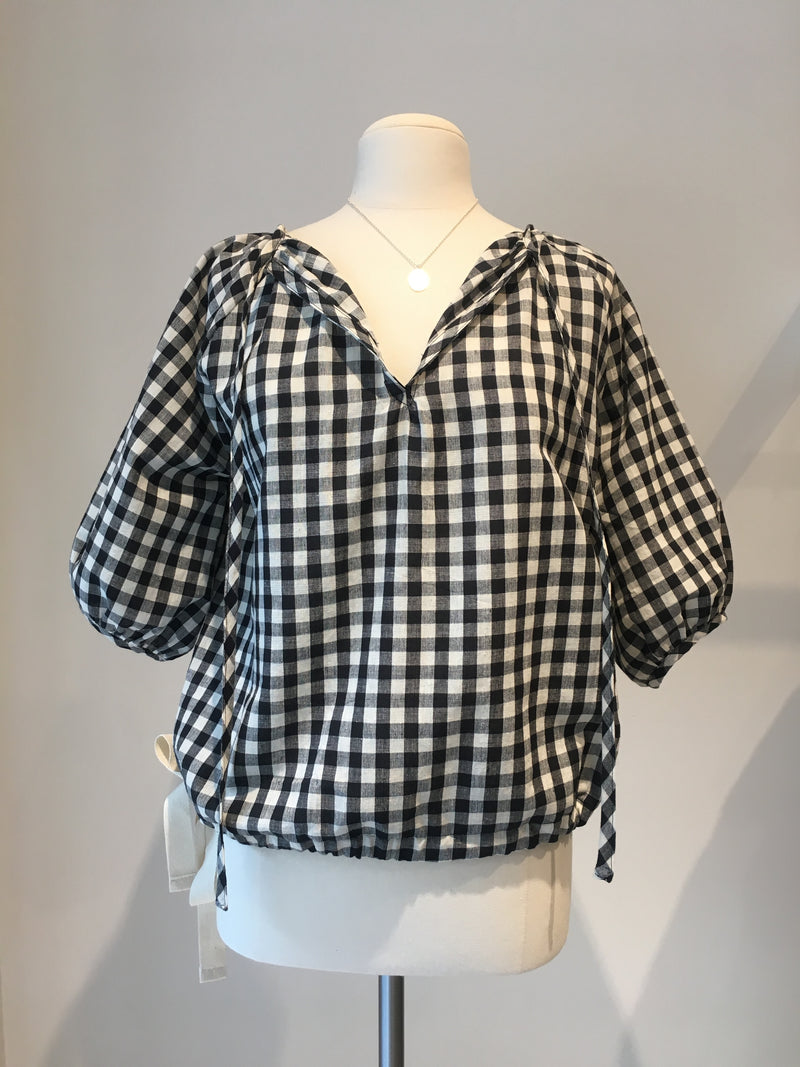 Poet Top in Black and White Gingham, Handloom Organic Cotton, Front View, by Naomi Murrell