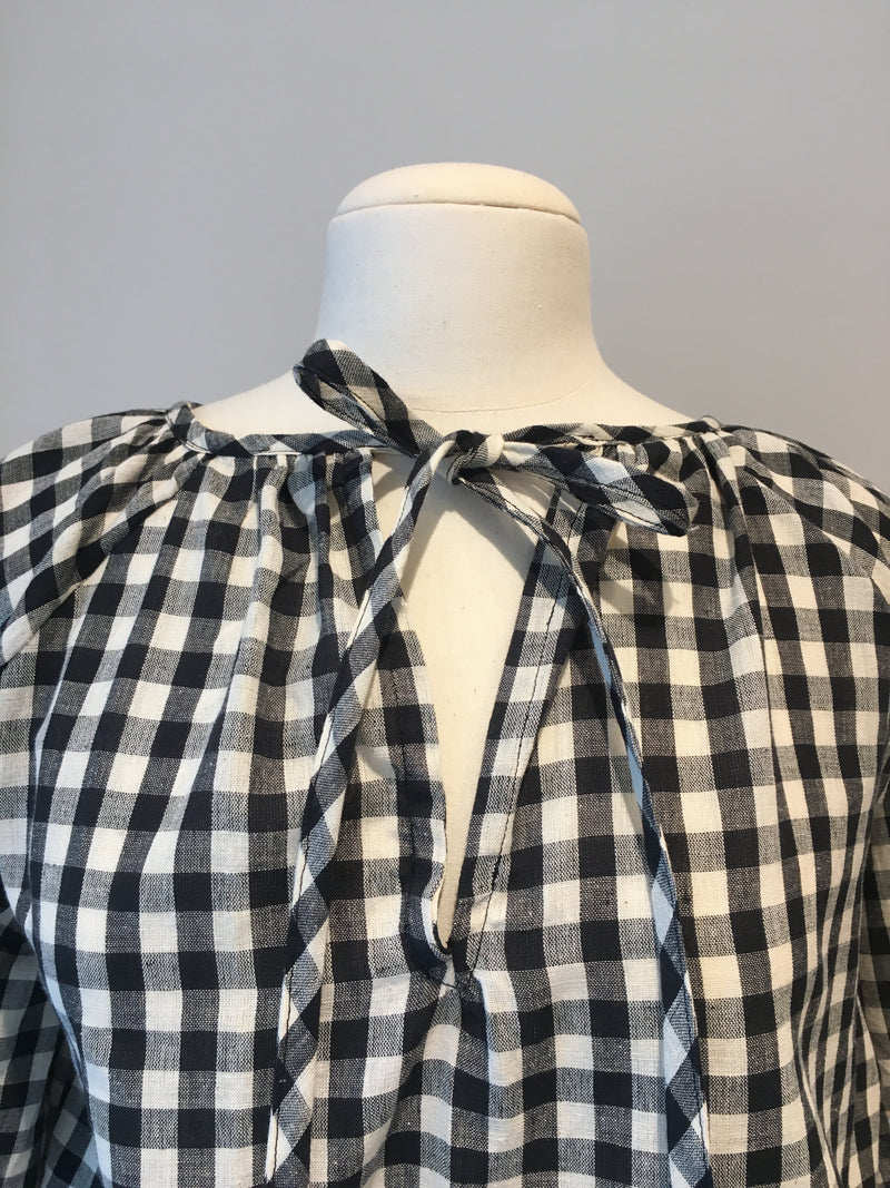 Poet Top in Black and White Gingham, Handloom Organic Cotton, Front View Detail, by Naomi Murrell