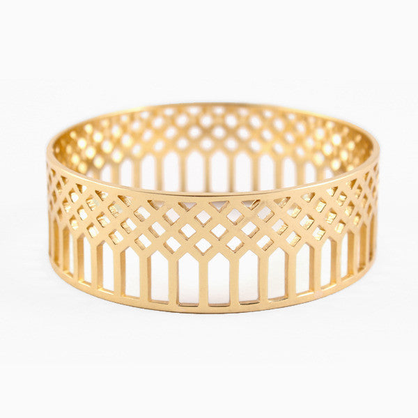 Lattice Bangle in Golden Brass by Naomi Murrell