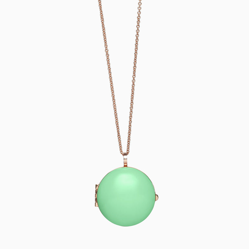 Locket in Rose Gold Plate and Pistachio by Naomi Murrell