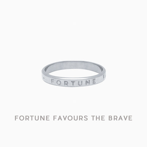 Fortune Favours The Brave Ring in Sterling Silver by Naomi Murrell