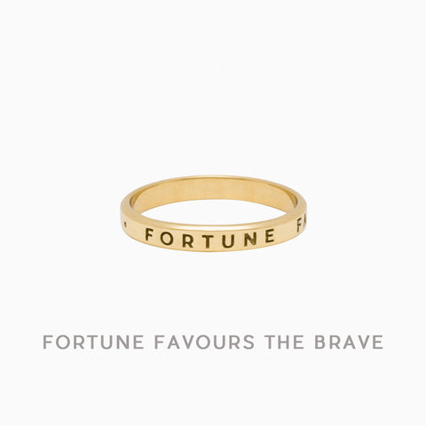 Fortune Favours The Brave Ring, Golden Brass (PRE-ORDER)