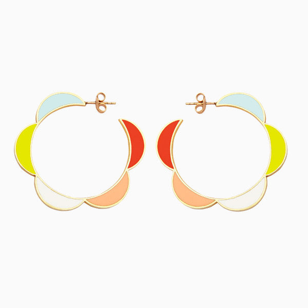 Moonbeam Hoops, Sorbet Resin, Golden Brass