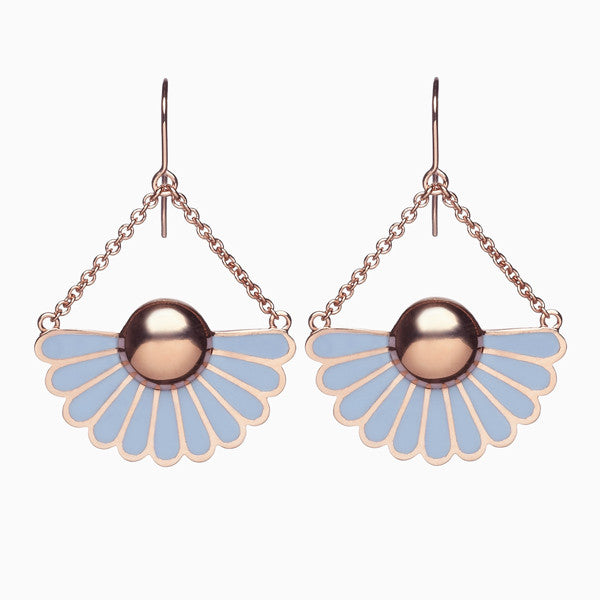 DECO EARRINGS</br>Periwinkle</br>Rose Gold Plate