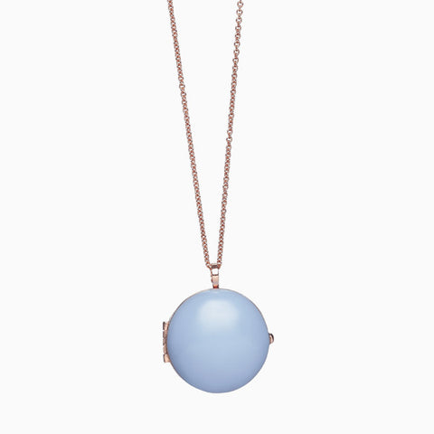 Locket in Rose Gold Plate and Periwinkle by Naomi Murrell