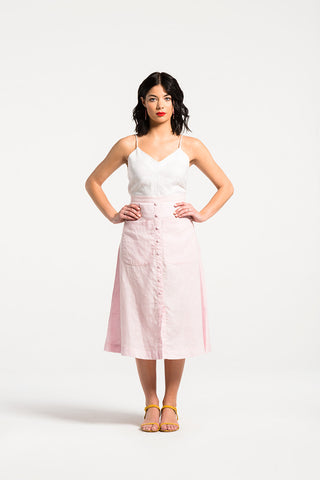 Funfair Skirt in Pink Fizz Linen by Naomi Murrell