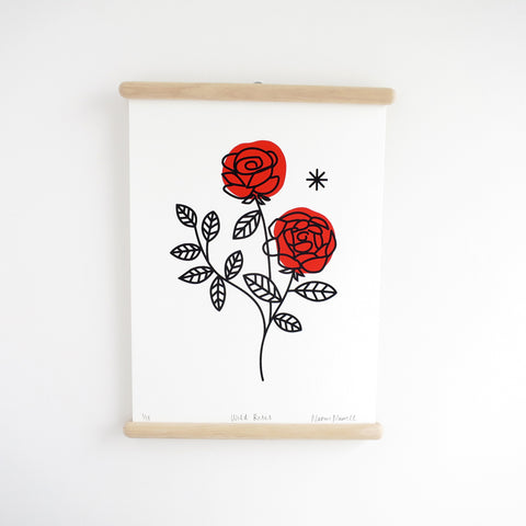 Wild Roses / Red, Screen Print