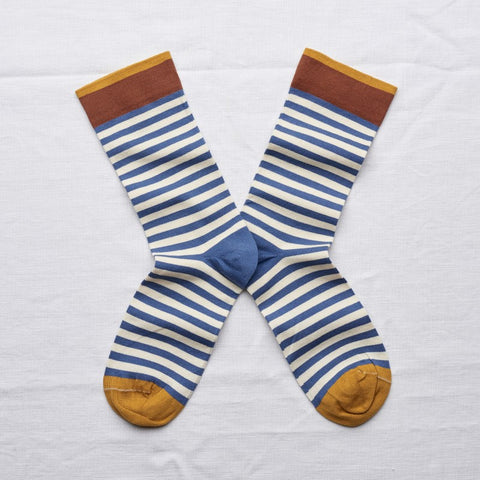 Denim Stripe Socks by Bonne Maison