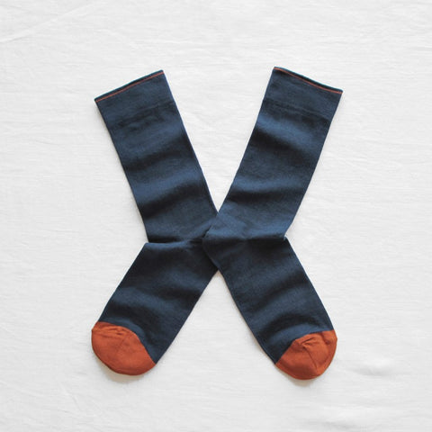 PLAIN SLATE BLUE SOCKS<br/>Bonne Maison<br/>