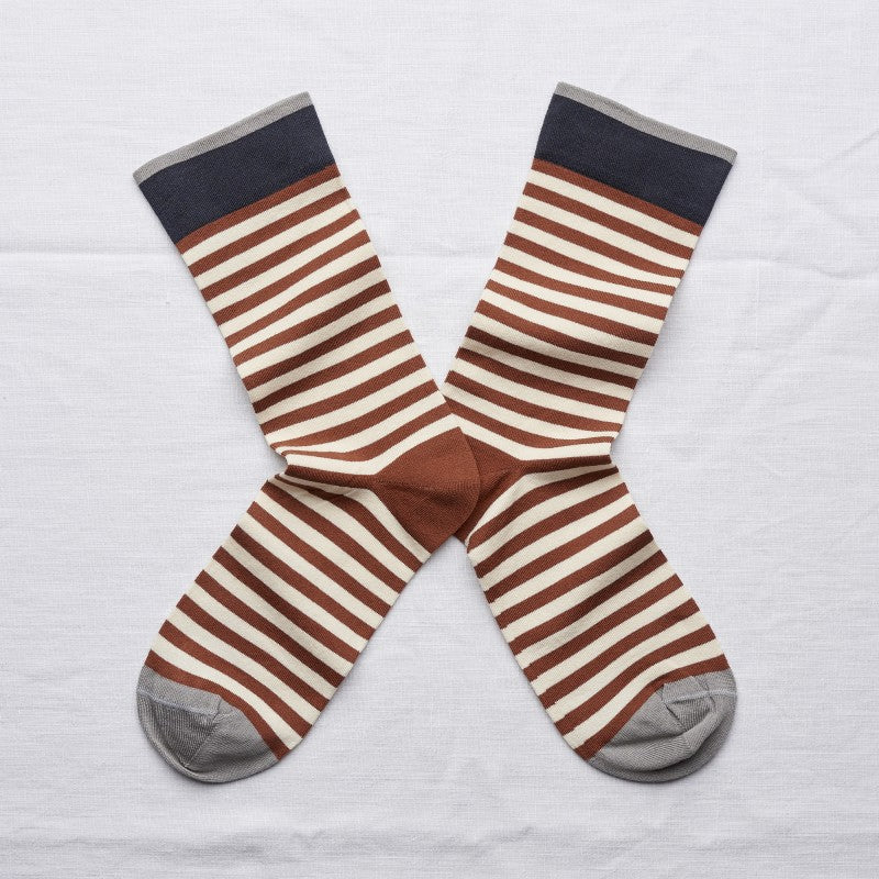 Sepia Denim Stripe Socks by Bonne Maison