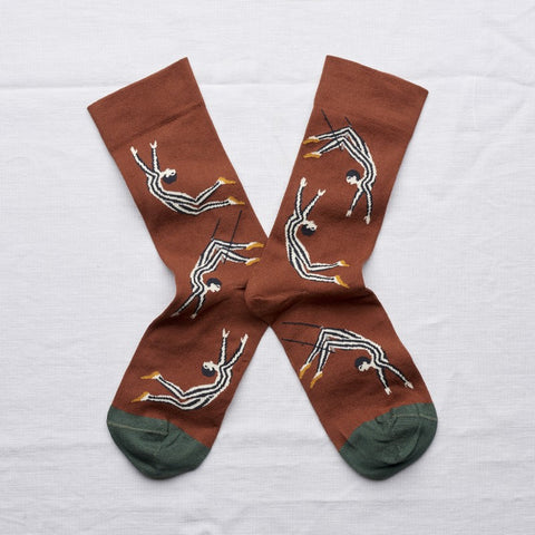 Sepia Trapezist Socks by Bonne Maison