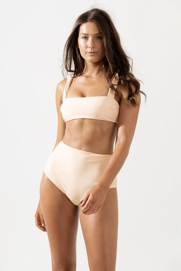 Lotte Wide Strap Bikini Top in Peach by Coco & Shy
