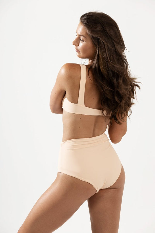Frankie High Waist Bikini Bottoms in Peach by Coco & Shy