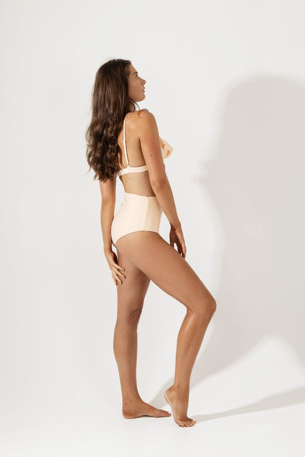 Fleur Frill Strap Bikini Top Back in Peach by Coco & Shy