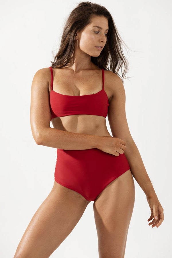 Mia Thin Strap Bikini Top in Cherry by Coco & Shy