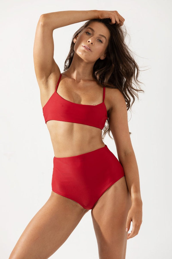 Frankie High Waist Bikini Bottoms Front in Cherry by Coco & Shy