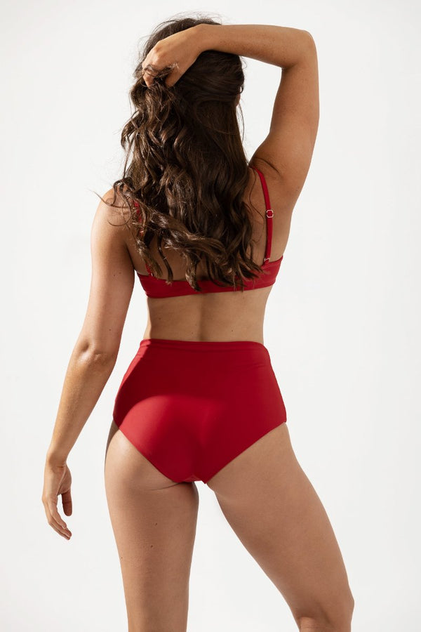 Frankie High Waist Bikini Bottoms Back in Cherry by Coco & Shy