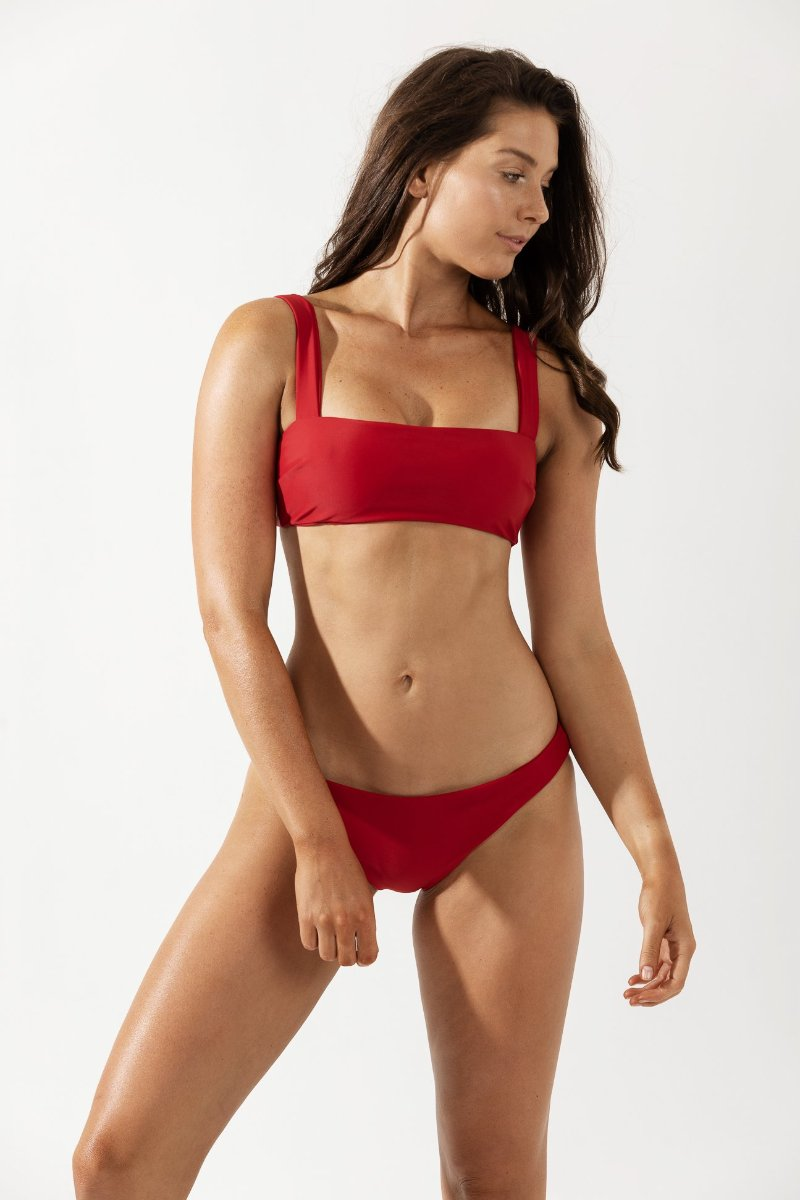 Lotte Wide Strap Bikini Top in Cherry by Coco & Shy