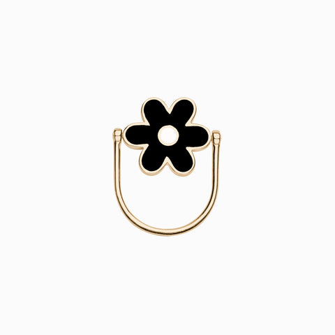 DAISY FLIP RING</br>Peppercorn + Bone</br>Golden Brass
