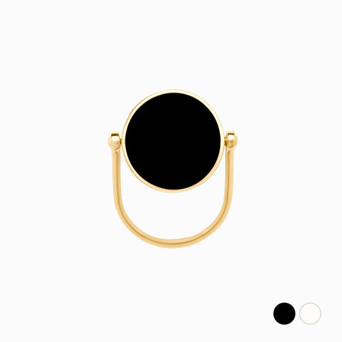 Flip Ring in Golden Brass, Peppercorn and Vanilla by Naomi Murrell
