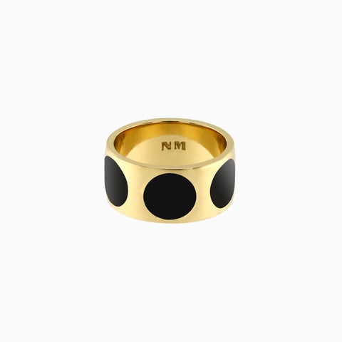 Luna Ring in Golden Brass and Peppercorn by Naomi Murrell