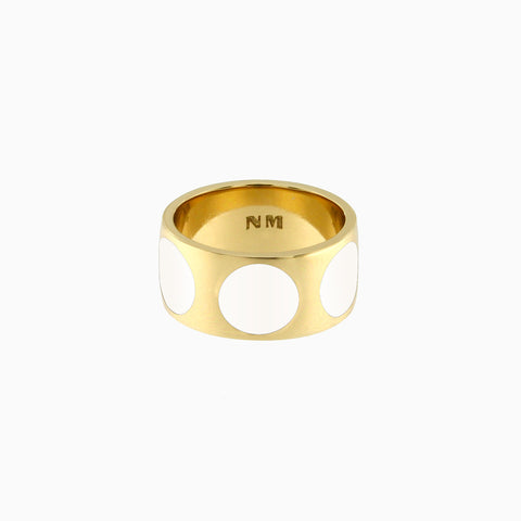 Luna Ring in Golden Brass and Bone by Naomi Murrell