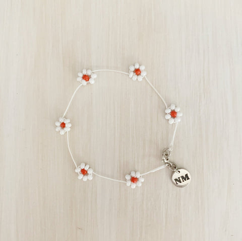 Daisy Chain Bracelet, Pearlescent White