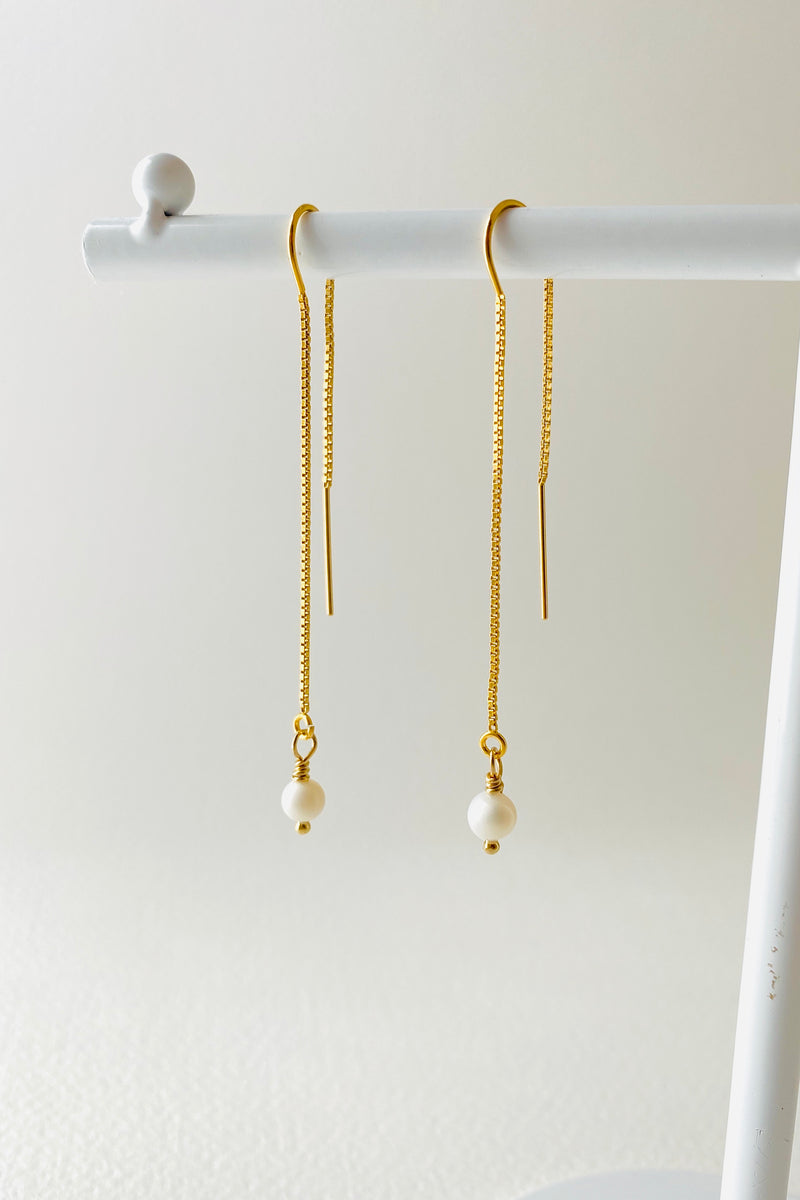 Perla Thread Earrings, Gold