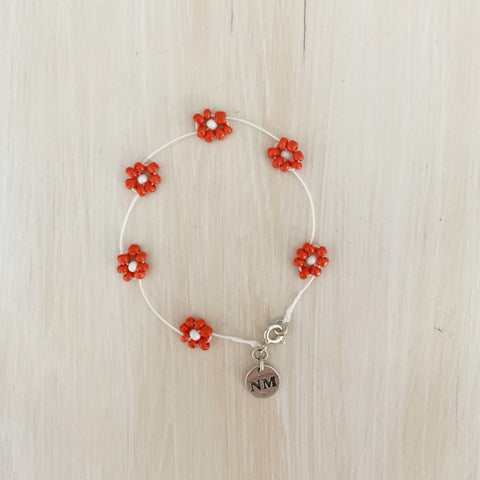 Daisy Chain Bracelet, Cherry Red