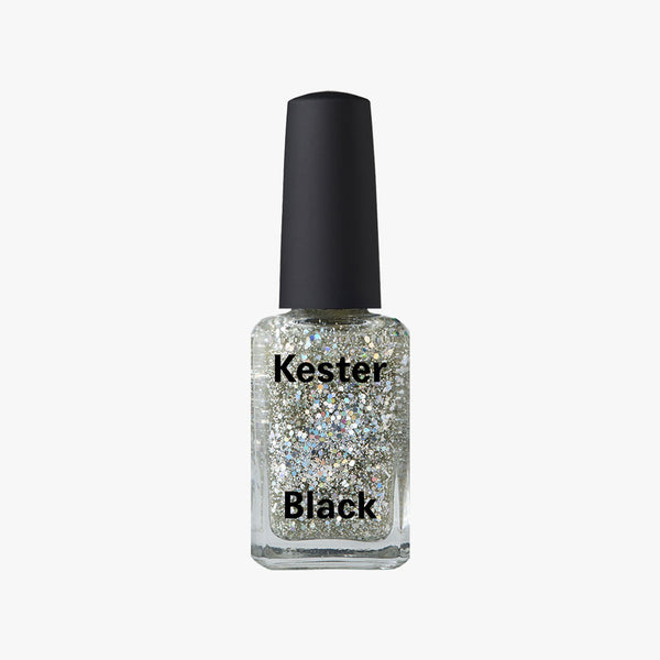 Nail Polish in Silver Comet Glitter by Kester Black