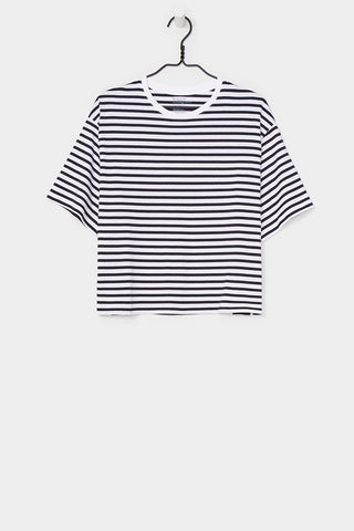BOXY TEE<br/>BLUE AND WHITE STRIPE<br/>Kowtow<br/>