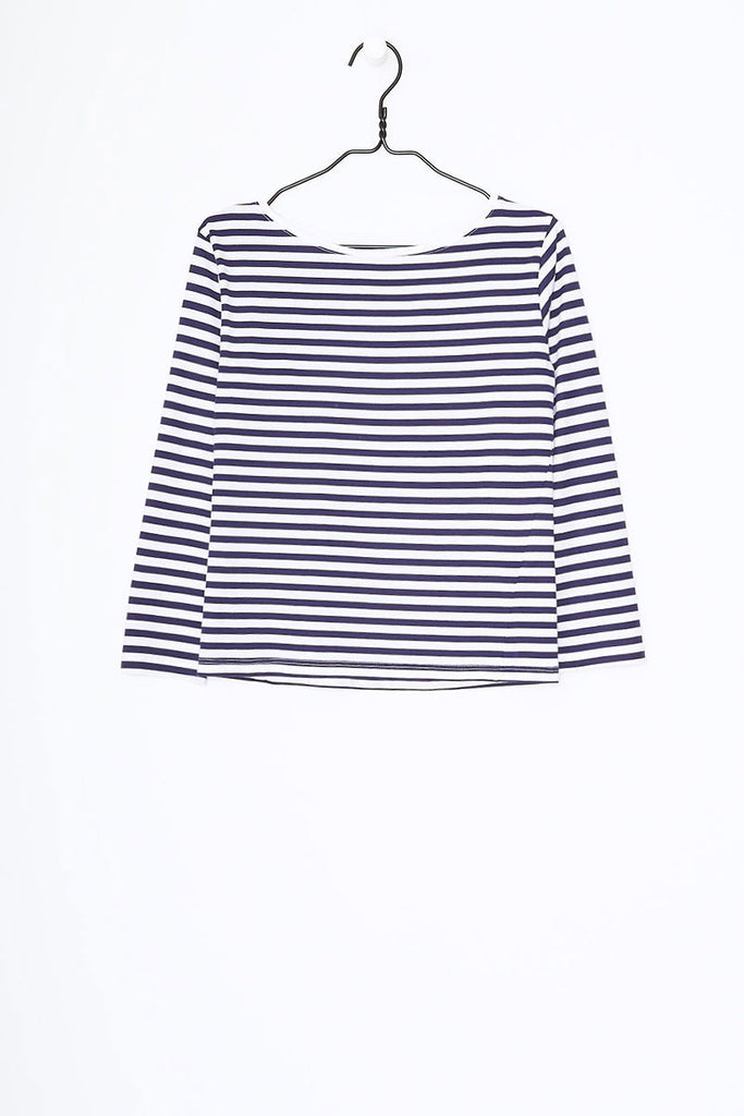Boat Neck Top in Blue + White Stripe Organic Cotton Jersey, Front Detail by Kowtow