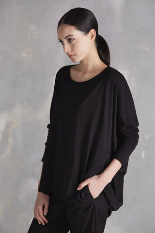 Drape Top in Black Organic Cotton Jersey by Kowtow