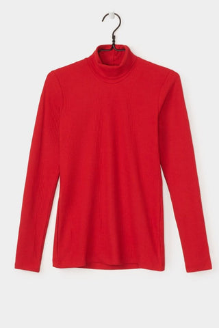 Ladder Rib High Neck Top, Red, Kowtow