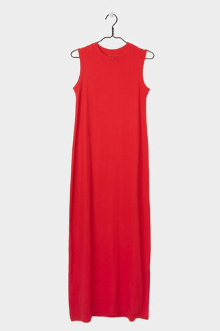 Ladder Rib Long Tank Dress, Red, Kowtow