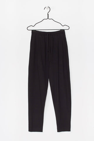 Lounge Pant in Black Organic Cotton Jersey, Front Detail by Kowtow