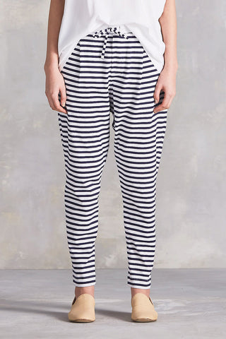 Lounge Pant in Blue + White Stripe Organic Cotton Jersey, Front Close Up by Kowtow