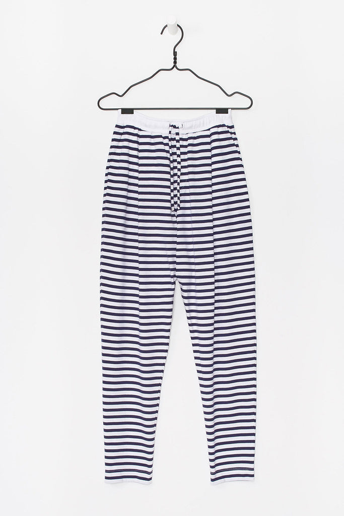 Lounge Pant in Blue + White Stripe Organic Cotton Jersey, Front Detail by Kowtow