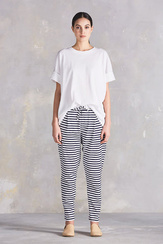 Lounge Pant in Blue + White Stripe Organic Cotton Jersey, Front by Kowtow