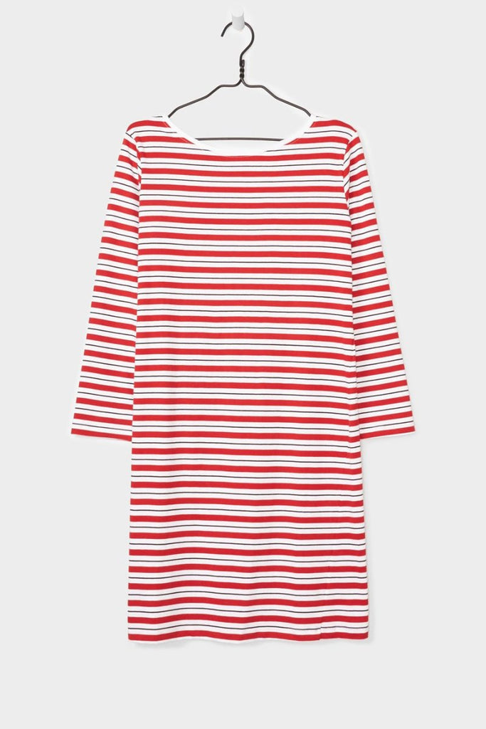 Boat Neck Dress, Red Stripe, Kowtow