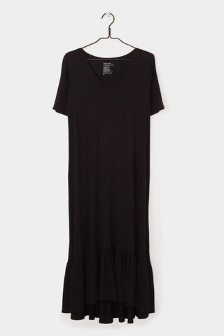 Gather Hem Dress, Black, Kowtow