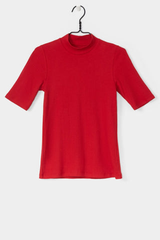 Ladder Rib Fitted Top, Red, Kowtow